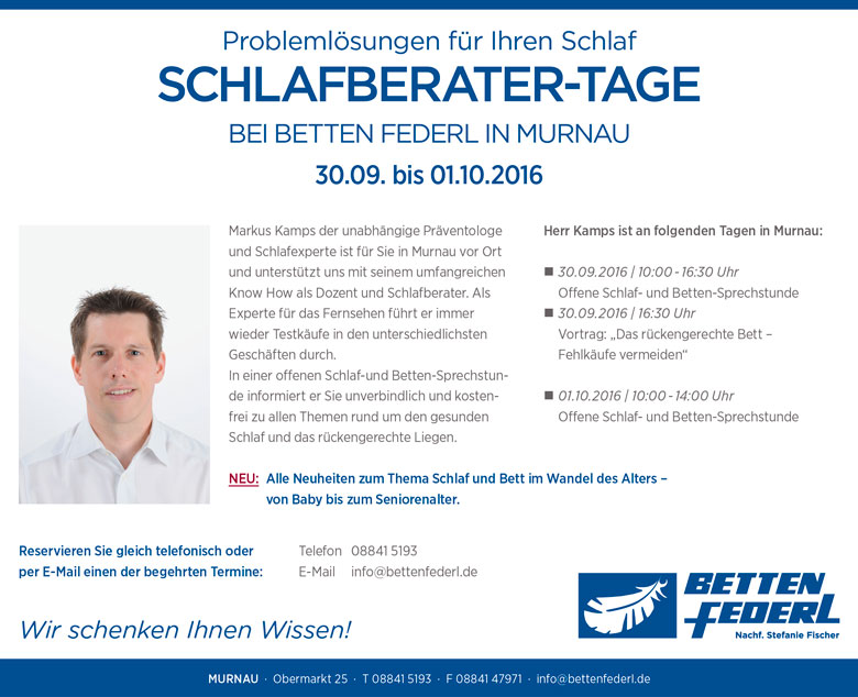 Schlafberater-Tage 2016